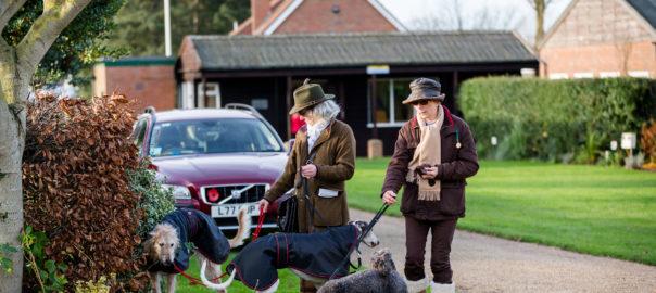 Racegoers with Dogs at Fakenham Racecourse. Norfolk