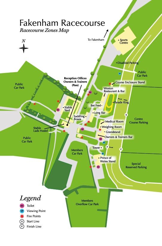 Fakenham Racecourse Zones. Map
