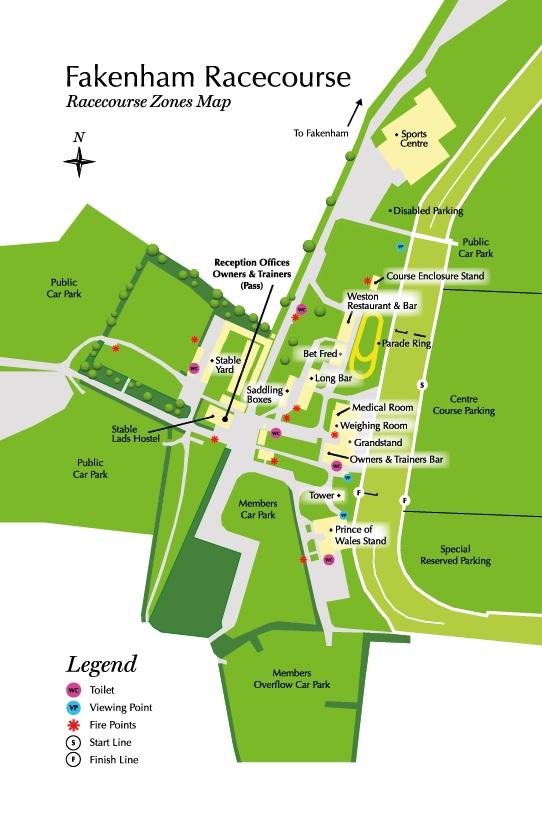 Fakenham Racecourse Zones. Map
