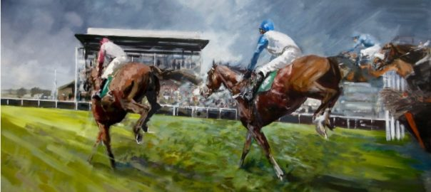 Fakenham Last Hurdle. David Mouse painting